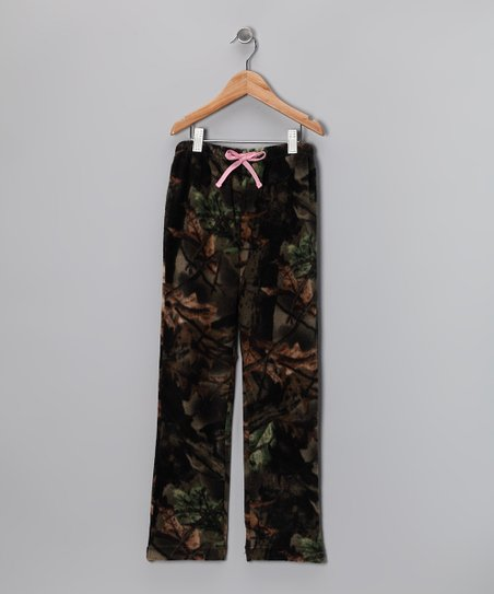 Pink Camo Fleece Pants - Girls