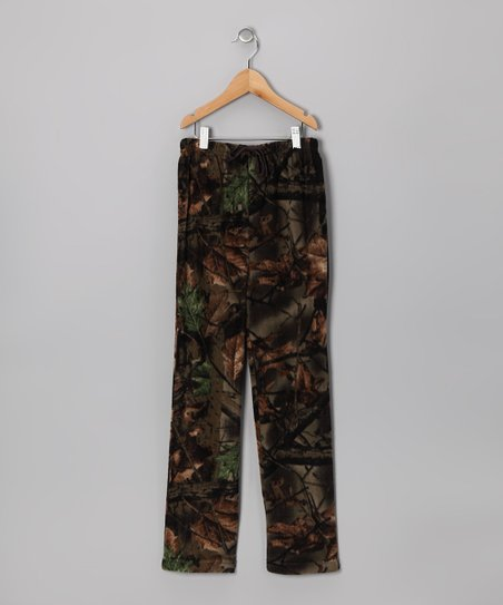 Green Camouflage Fleece Pants - Boys