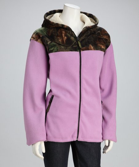 Light Purple Camo Fleece Jacket - Women