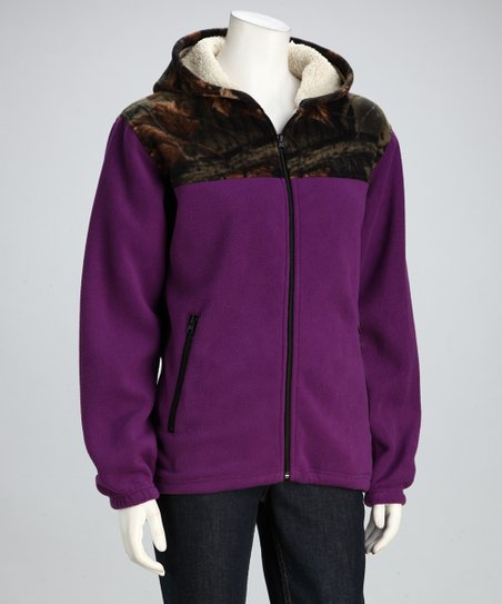 Dark Purple Camo Fleece Jacket - Women