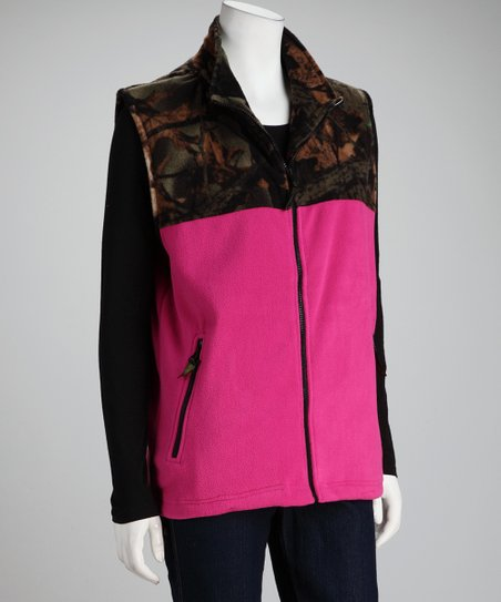 Rose & Olive Camo Polar Fleece Vest - Women