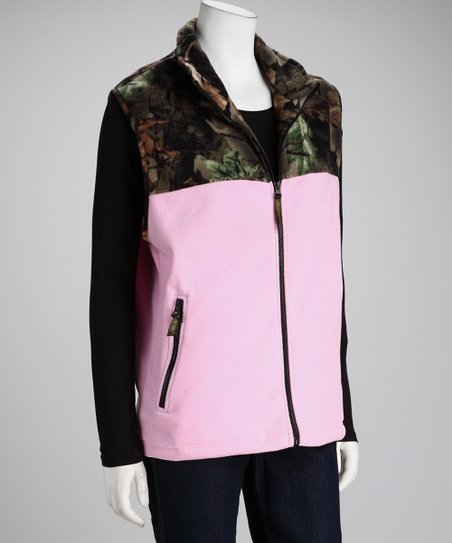 Pink Camo Fleece Vest - Women