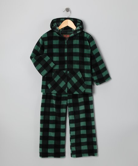 Green Plaid Hoodie & Pants - Infant, Toddler & Boys