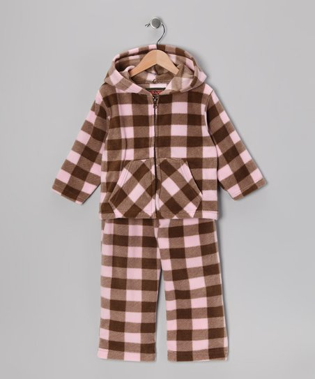 Trail Crest Pink Plaid Zip-Up Hoodie & Pants - Infant & Toddler