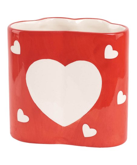 Red & White Hearts Dolomite Vase