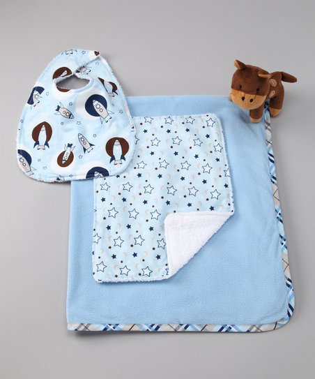 Blue Rocket Blanket Set