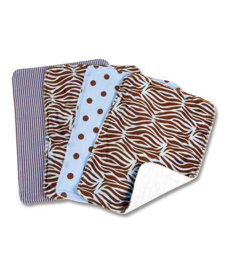 Blue Zebra Burp Cloth Set