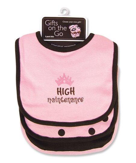 Pink 'High Maintenance' Bib Set