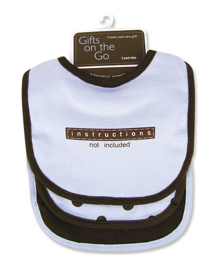 Blue 'Instructions Not Included' Bib Set