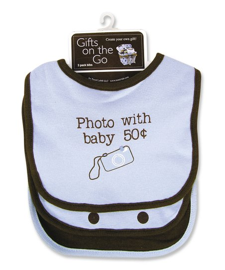 Blue 'Photo With Baby' Bib Set
