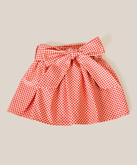 Red Gingham Sash Skirt - Toddler & Girls