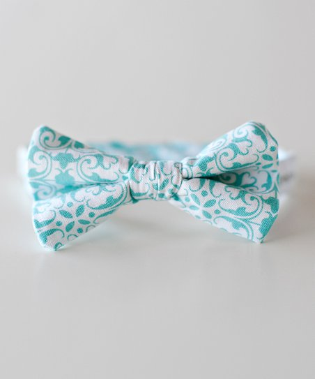 Blue &amp; White Damask Bow Tie