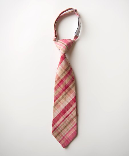 Pink &amp; Khaki Plaid Tie