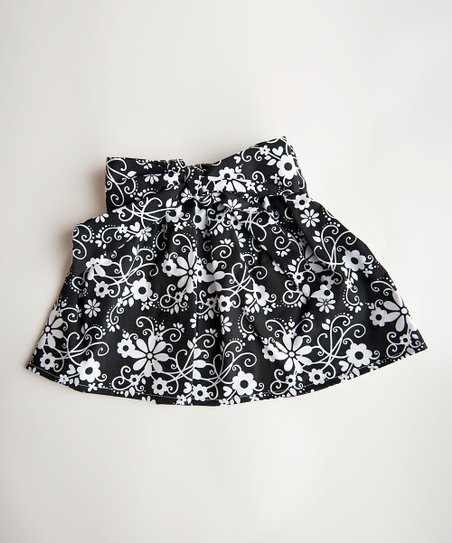 Black & White Flower Skirt - Toddler & Girls