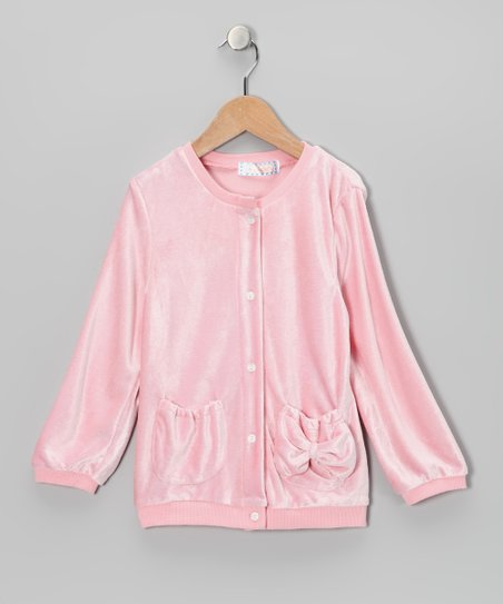 Pink Velour Cardigan - Toddler & Girls