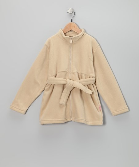 Beige Fleece Belted Jacket - Toddler & Girls