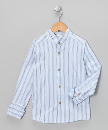 White & Blue Stripe Classic Button-Up - Toddler & Boys