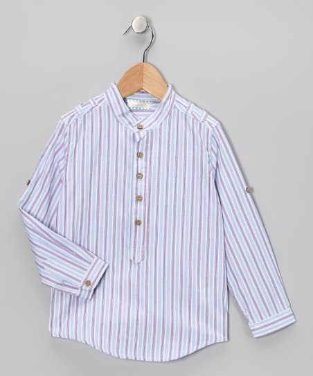 White & Purple Stripe Shirt - Infant, Toddler & Boys