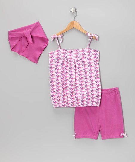 Pink Wave Shorts Set - Toddler & Girls