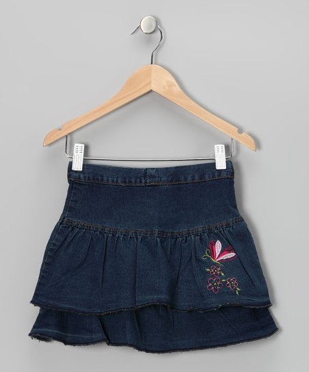 Denim Butterfly Ruffle Skirt - Toddler & Girls