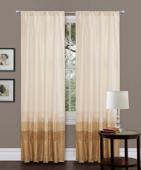Beige Mia Curtain Panel - Set of Two
