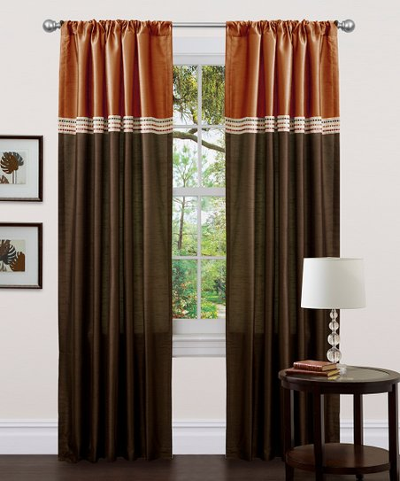 Brown & Rust Terra Curtain Panel - Set of Two