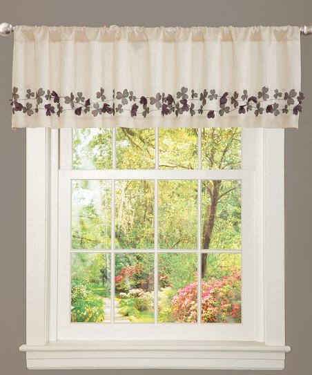 Ivory & Purple Flower Drop Valance