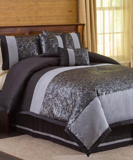 Black &amp; Silver Metallic Animal Comforter Set
