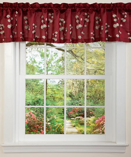 Red & Brown Cocoa Flower Valance