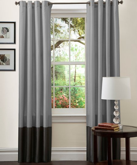 Silver & Black Prima Curtain Panel - Set of Two