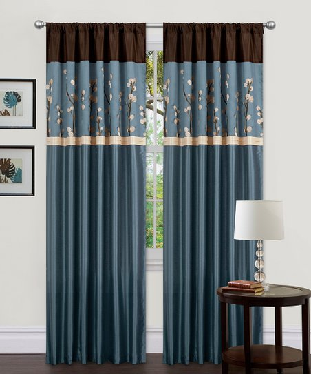Blue & Brown Cocoa Blossom Curtain Panel - Set of Two