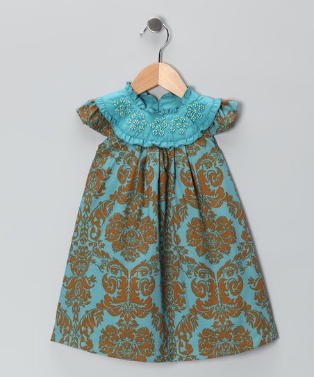 Blue & Gold Beaded Yoke Dress - Infant, Toddler & Girls