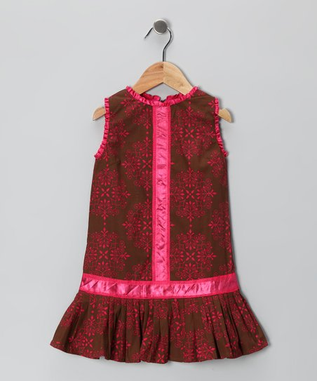 Brown & Pink Pleated Drop-Waist Dress - Infant & Toddler