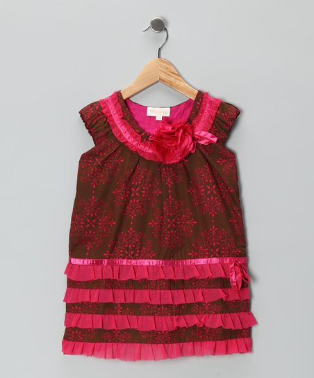 Brown & Pink Ruffle Drop-Waist Dress - Toddler & Girls