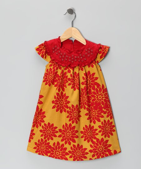 Red &amp; Gold Beaded Yoke Dress - Infant, Toddler &amp; Girls