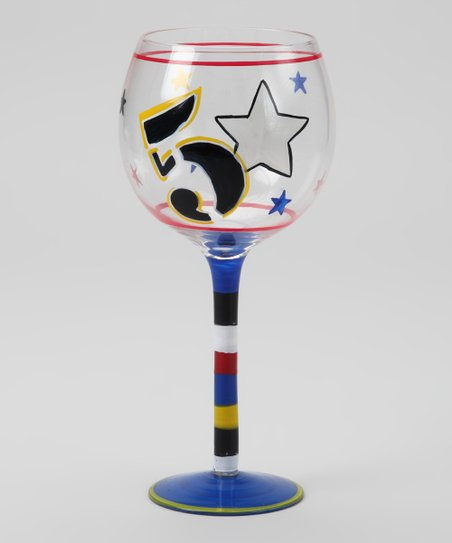 Number & Stars Wine Glass