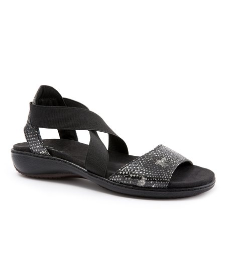 Trotters Black Snakeskin Kristen Sandal
