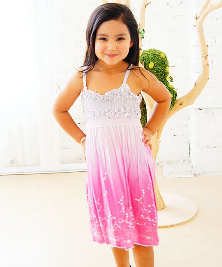 Pink & Gray Oxygen Dress - Girls