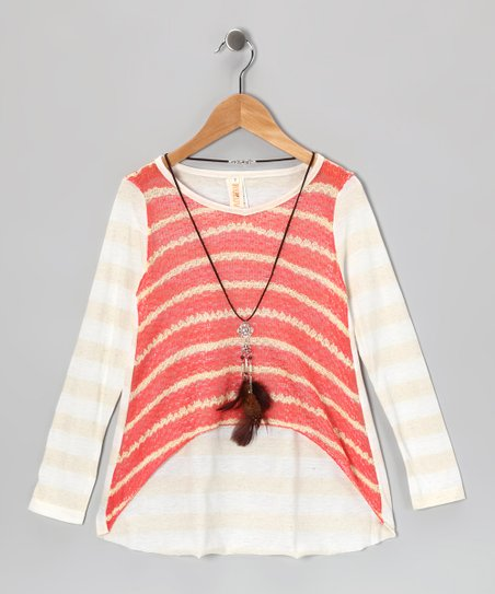 Coral Stripe Drama Hi-Low Tunic & Necklace - Girls