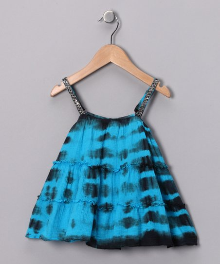 Blue & Black Tie-Dye Tiered Tank - Girls