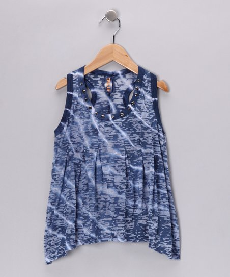 Blue Tissue Racerback Tank - Girls