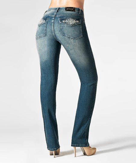 Tru Luxe Medium Blue Las Vegas Straight-Leg Jeans