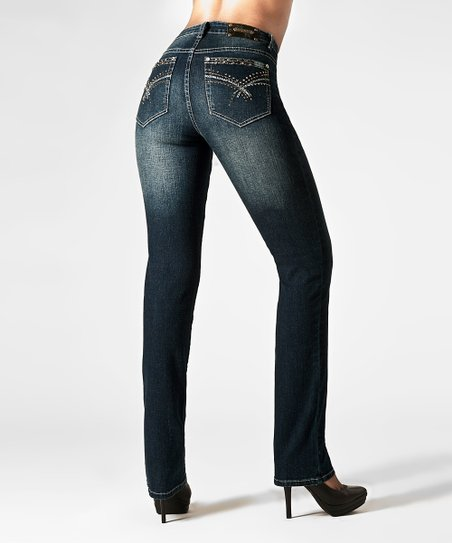 Tru Luxe Dark Blue Sydney Straight-Leg Jeans