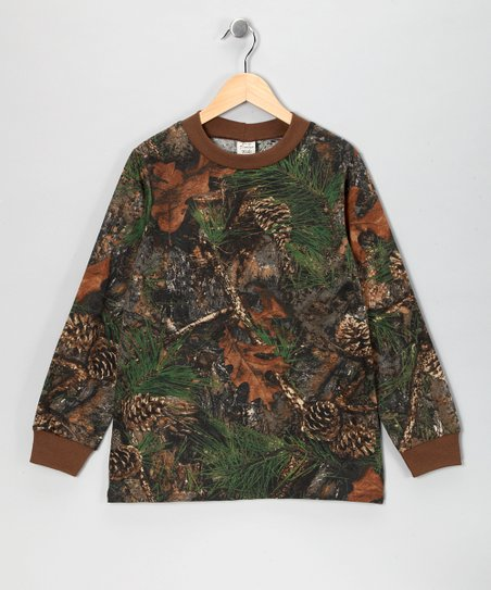 Brown & Mixed Pine Camo Long-Sleeve Tee - Boys