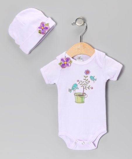 Violet Flower Bird Bodysuit & Beanie - Infant