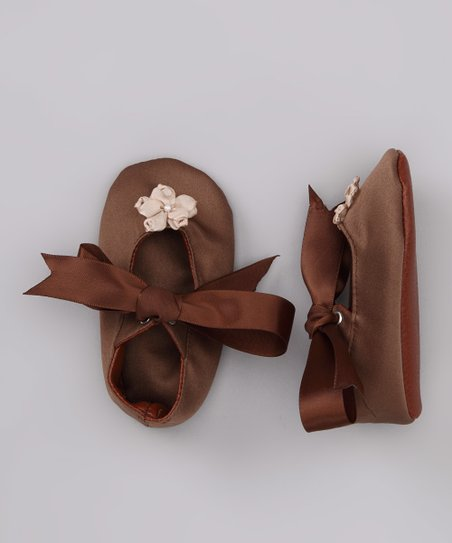 Tan & Brown Flower Satin Mary Jane