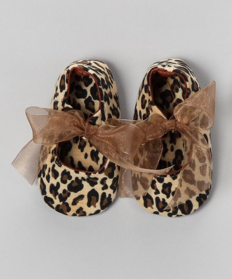 Tan & Brown Leopard Bow Flat