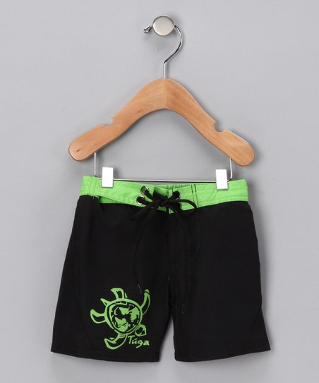 Black & Green Boardshorts - Infant, Toddler & Boys