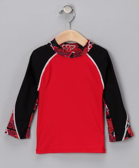 Red Pipeline Long-Sleeve Rashguard - Infant, Toddler & Boys