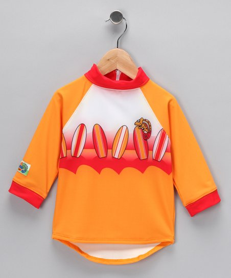 Orange Surfboard Rashguard - Toddler & Boys